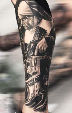 Chicano Tattoos Gangsters, Chicano Tattoos Sleeve, Gangster Tattoos, Forarm Tattoos, Forearm Sleeve Tattoos, Best Sleeve Tattoos, Arm Tattoos For Guys, Forearm Tattoo Men, Leg Tattoos