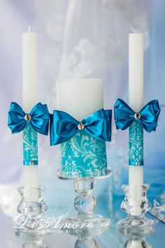 Turquoise wedding unity candle, personalized votive candles, from the collection of Damask luxury traditional, wedding pillar candles, Lace Candles, Wedding Unity Candles, Rustic Candles, Votive Candles, Decorative Candles, Candle Art, Natural Candles, Turquoise, Blue Wedding