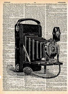 CAMERA Art Print on Dictionary Book Page Original by twistedink