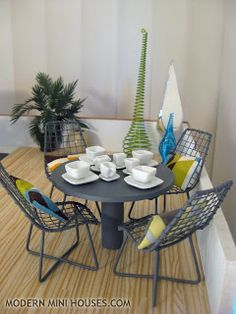 deck patio square place setting with wired chairs