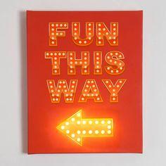 'Fun This Way' Illuminated Canvas