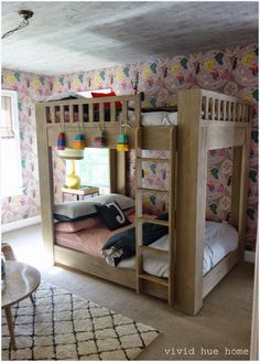 Tour Vivid Hue Home's use of wallpaper on the ceiling and in main rooms of the home Wallpaper Ceiling, Of Wallpaper, Boy And Girl Shared Room, Home Bedroom, Clean House, Bunk Beds, Hue, Kids Room, Ceilings