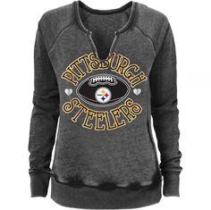 Pittsburgh Steelers NFL TEENS Juniors S (3/5) Split Neck Fleece Lined Sweatshirt #NFL #PittsburghSteelers