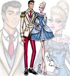 Hayden Williams Fashion Illustrations: 'Disney Darling Couples' by Hayden Williams: Cinderella & Prince Charming 