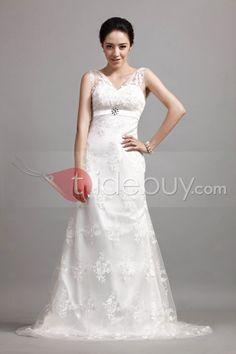 Gorgeous Sheath/Column Lace Straps Cibeles's Wedding Dress