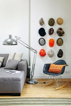 Hat Collection on a Wall in the Living Room - Home Storage Ideas (EasyLiving.co.uk)