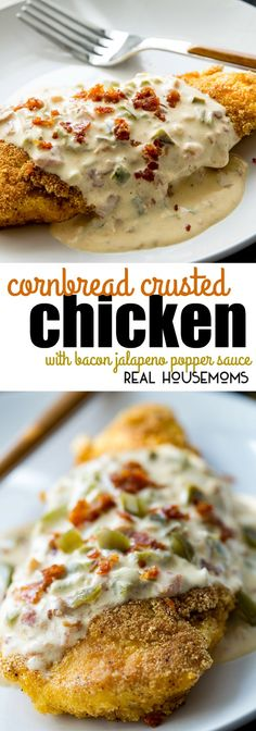 Cornbread Crusted Chicken with Bacon Jalapeno Popper Sauce is an easy to make dinner that's packed with flavor and is sure to become your new favorite meal! via (Chicken Bacon Jalapeno) I Love Food, Good Food, Yummy Food, Great Recipes, Favorite Recipes, Fall Recipes, Easy To Make Dinners, Stuffed Jalapenos With Bacon, Chicken Recipes