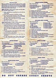 Do Not Grease Cooky Sheets-I hate this spelling of Retro Recipes, Old Recipes, Vintage Recipes, Cookbook Recipes, Candy Recipes, Cookie Recipes, Dessert Recipes, Family Recipes, Baking Recipes
