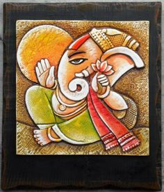 Ganesha Drawing, Lord Ganesha Paintings, Ganesha Art, Sri Ganesh, Indian Artwork, Indian Art Paintings, Clay Wall Art, Clay Art, Ganesh Images