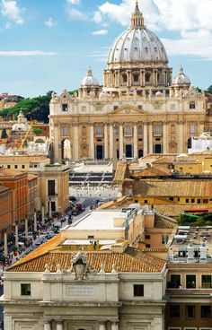 View of Rome cityscape, Basilica of St. Peter, Rome, Italy: