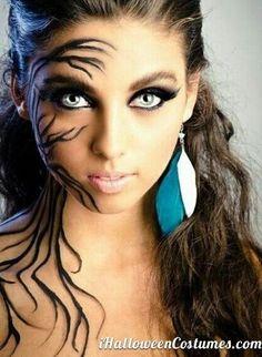 Halloween Makeup. Vines snaking around face. Black eyeliner and shadow. Blend.