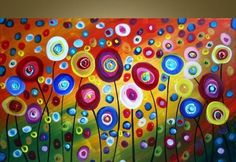 CUSTOM Dancing Poppies Original Modern Abstract by fineartsale - great painting for a girls room. I would love B to paint something like this herself! Art Floral, Wine And Canvas, Art Diy, Ouvrages D'art, Art Party, Art Plastique, Art Auction, Painting & Drawing, Large Painting