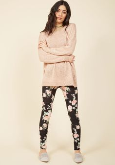 No matter if you're lounging about or monkeying around - you want to feel at ease. These super-soft leggings offer that plus a pink, mint, and white display. Black And White Leggings, Styles P, Modcloth, Hue, Roses, Mint, Cozy, Display, Printed