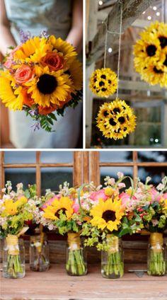 Si tu color favorito es el amarillo no dudes en elegir hermosos girasoles para adornar tu boda. #Flowers #Wedding #Bouquet