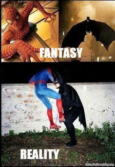 fantasy vs reality funny spiderman batman costume, funny picture