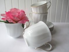 Vintage Mikasa Wedding Band White Gold Teacups & by thechinagirl