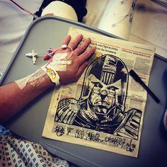 "Art ""Dredd."" Felt Tip on newspaper. Reposted with medical information covered!"