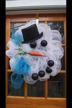 Snow man deco mesh wreath.