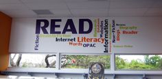 Wordle design for library, one of two designs that match in the school library.