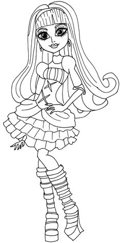Monster high coloring pages webarella dress ~ Girl Clawdeen Wolf Coloring Page   Monster High ...
