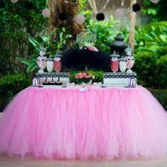 Fascinating Pink Tutu Table Curtain Featuring Black Ballerina Tutu  Centerpiece For Ballerina Themed Baby Shower Decor