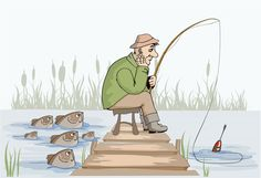 Unhappy fisherman at the fishing - stock vector Fishing Bait, Gone Fishing, Happy Birthday Meme, Dad Day, Fish Art, Digi Stamps, Cartoon Art, Painted Rocks, Animation