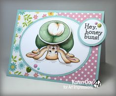Art Impressions Rubber Stamps: Ai Shakers: Easter: Honey Buns Set (Sku #4755). Handmade action wobble interactive card.