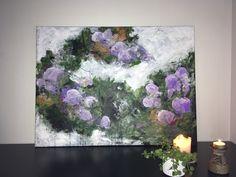 Maleri i skønne harmoniske farver lilla, hvid, grøn