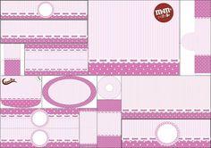 Rayas y Lunares en Lila y Blanco: Etiquetas para Candy Bar para Imprimir Gratis.