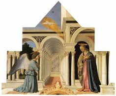 The Annunciation, 1460 by Piero della Francesca. Bajo Renacimiento. pintura religiosa. Galería Nacional de Umbría