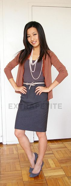 16a97bfd79 Tips for styling a basic cardigan + pencil skirt combo  tuck in cardigan