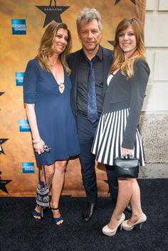 """It's a family affair! Singer Jon Bon Jovi (c.), his wife Dorothea Hurley (l.) and one of his children Stephanie Rose Bongiovi were all in attendance for the opening night show of the Broadway musical """"Hamilton"""" on Aug. 6, 2015."""