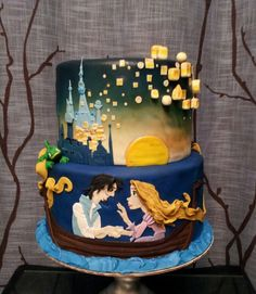 A Birthday cake for a little girl who Loves Tangled!~~Made by  dangirls cakery    ..  https://www.facebook.com/dangirlscakery