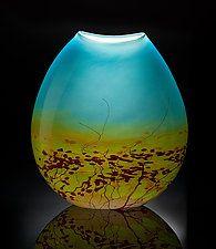 """Meadow Pouch Vase by John & Heather  Fields (Art Glass Vase) (12"""" x 6"""")"""