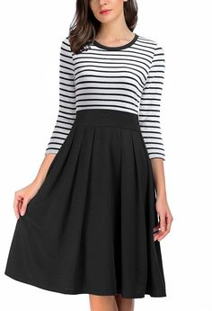 AAMILIFE Women's Stripe Scoop Neck Short Long Sleeve Casual Swing Modest Dresses - best woman's fashion products designed to provide Flattering Dresses, Modest Dresses, Dresses For Work, Casual Dresses, Woman Dresses, Vestidos Vintage, Vintage Dresses, Fabulous Dresses, Rock