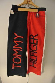 90s Vintage TOMMY HILFIGER Hip Hop ENORMOUS Red White Blue Jeans Womens 13 RARE  #TommyHilfiger #90sHipHop