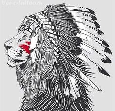 Тату-лев-индеец.gif (525×511)