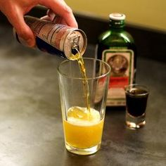Jager Bomb  •1 1/2 oz Jagermeister   •1/2 can Red Bull    Instructions    1. Fill a shot glass with Jagermeister.   2. Pour half a can of Red Bull into a highball (tall) glass. Drop shot into glass and drink!