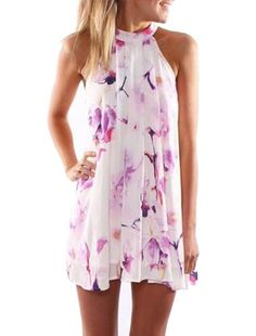 Fresh Style Jewel Neck Sleeveless Floral Print Dress For Women