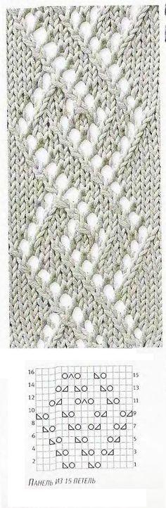 Ponto de tricô rendado com gráfico
