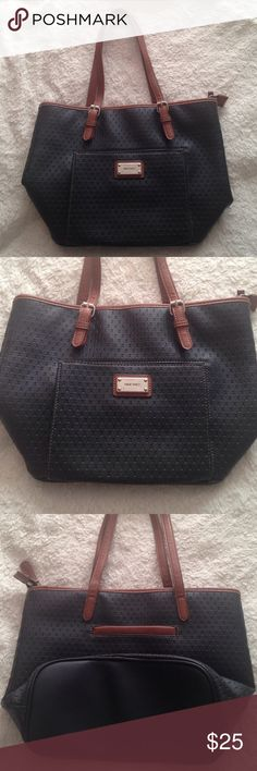 Nine West Black/Brown Purse Gently used. Well taken care of. Small white stain inside. Easy to remove. Bags Totes