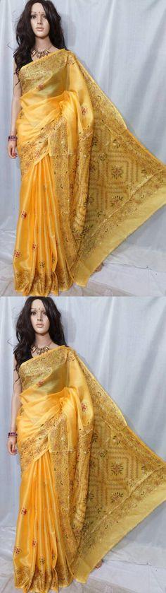 Sari Saree 155250: Indian Bollywood Bhagualpuri Silk Saree With Kantha Stitch Work Designer Sari -> BUY IT NOW ONLY: $35 on eBay!