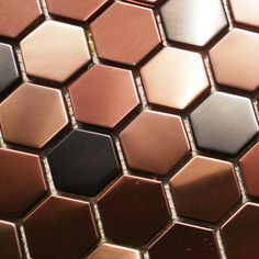 Hexagon mosaics tile stainless steel copper black blends backsplash kitchen tiles bath walls shower flooring tile #LimitlessDesign #Contest