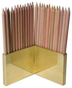 Colored Pencils & Brass Holder Set - modern - desk accessories