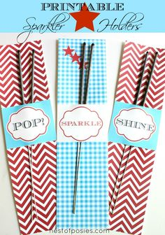 Printable Sparkler Holders-- Because what 4th of July party is complete without some fun with sparklers?
