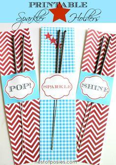 Add some fun & sparkle to your Summer holidays!  Printable Sparkler Holders via @Cheryl Sousan | Tidymom.net