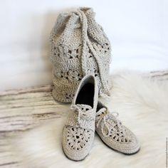 """Купить Мокасины льняные """"Синтия 2"""" - бежевый, мокасины льняные, льняная обувь, летняя обувь"""