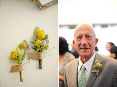 These boutonnieres and soft brown and green tones are perfect for a fall vow renewal.  Marthas Vineyard