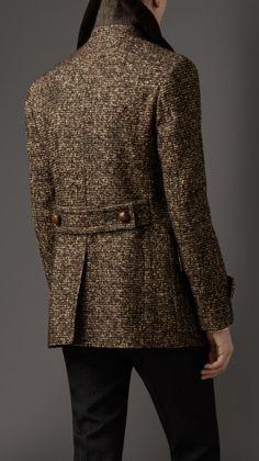 Burberry Shearling Collar Tweed Pea Coat in Brown for Men (lentil brown)