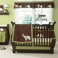 I like the brown sleigh bed crib idea!
